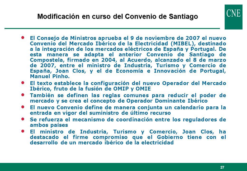 27 lEl Consejo de Ministros aprueba el 9 de noviembre de 2007 el nuevo Convenio del Mercado Ibérico de la Electricidad (MIBEL), destinado a la integra