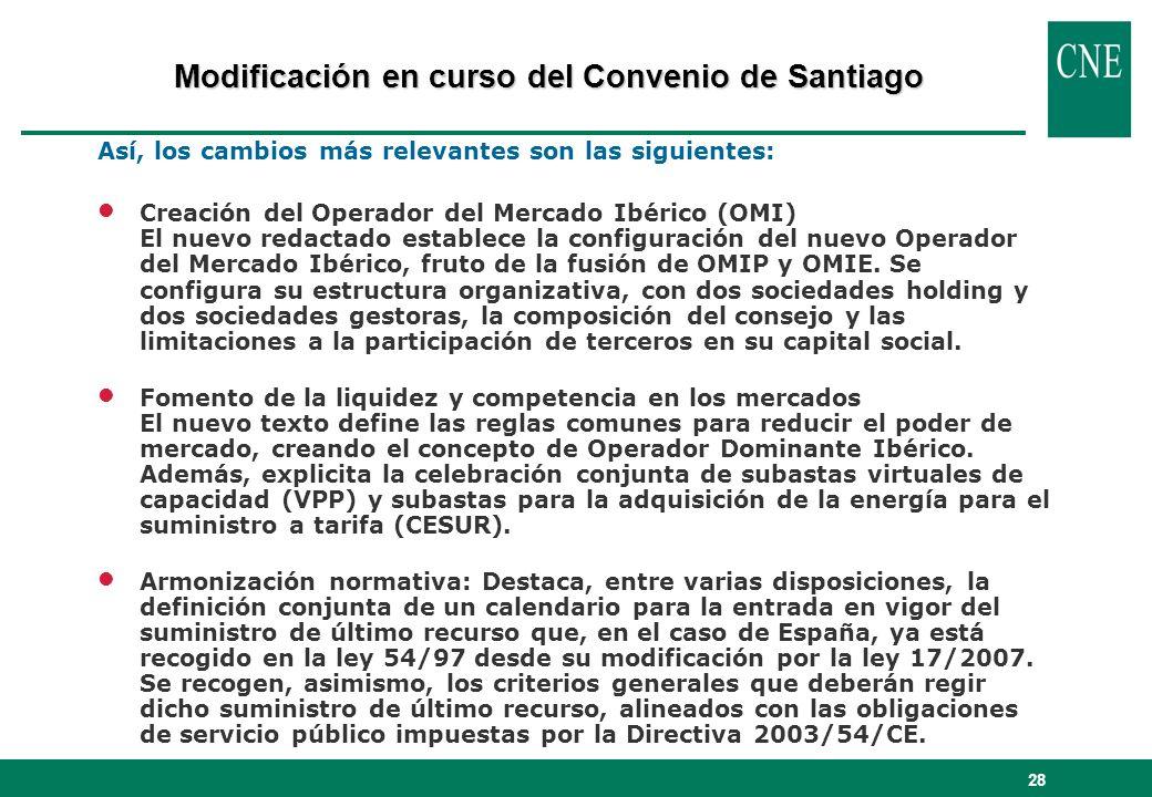 28 Así, los cambios más relevantes son las siguientes: lCreación del Operador del Mercado Ibérico (OMI) El nuevo redactado establece la configuración