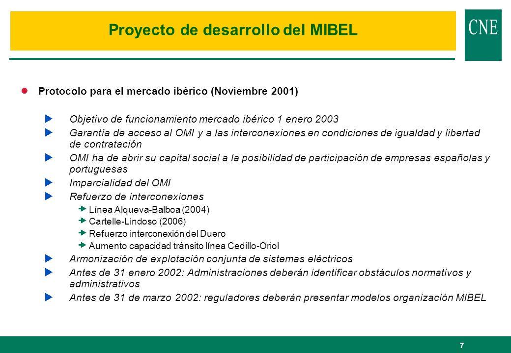 7 lProtocolo para el mercado ibérico (Noviembre 2001) Objetivo de funcionamiento mercado ibérico 1 enero 2003 Garantía de acceso al OMI y a las interc