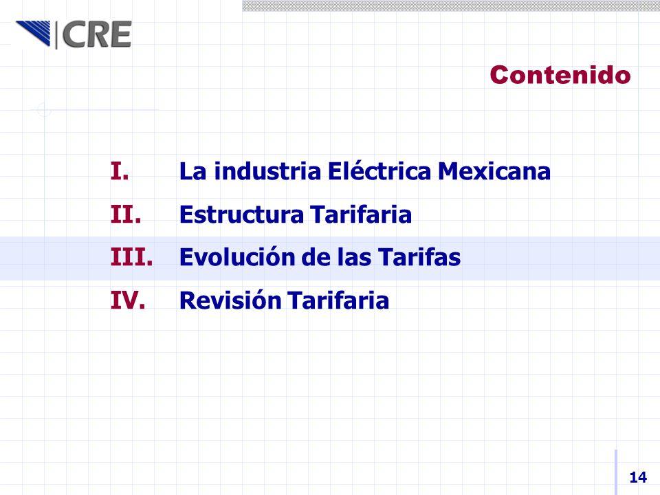 I. La industria Eléctrica Mexicana II. Estructura Tarifaria III. Evolución de las Tarifas IV. Revisión Tarifaria Contenido 14