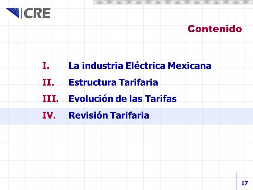 I. La industria Eléctrica Mexicana II. Estructura Tarifaria III. Evolución de las Tarifas IV. Revisión Tarifaria Contenido 17