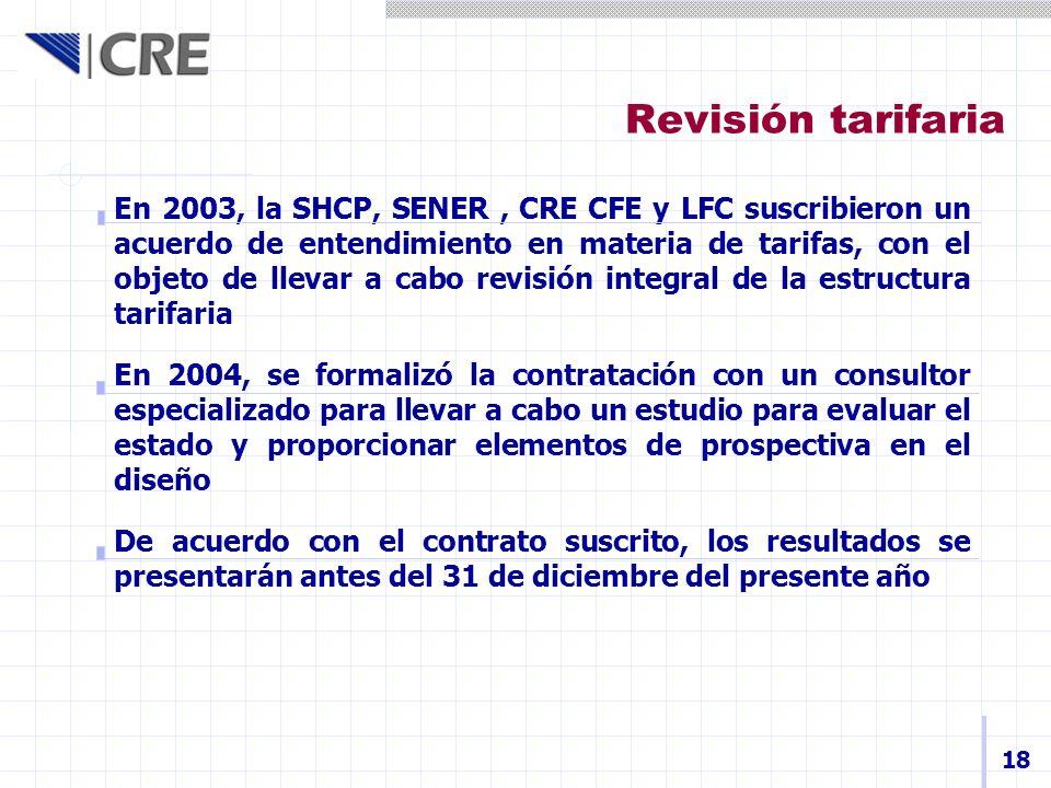 Revisión tarifaria En 2003, la SHCP, SENER, CRE CFE y LFC suscribieron un acuerdo de entendimiento en materia de tarifas, con el objeto de llevar a ca