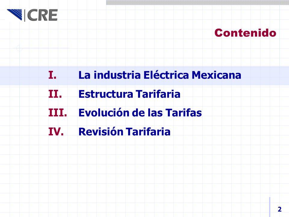I. La industria Eléctrica Mexicana II. Estructura Tarifaria III. Evolución de las Tarifas IV. Revisión Tarifaria Contenido 2