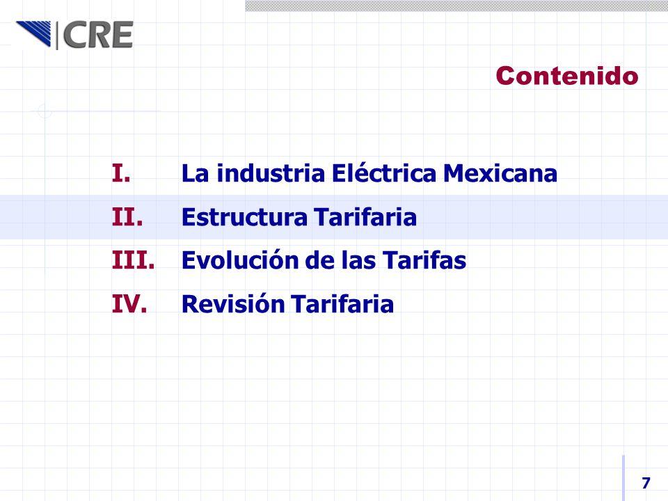 I. La industria Eléctrica Mexicana II. Estructura Tarifaria III. Evolución de las Tarifas IV. Revisión Tarifaria Contenido 7