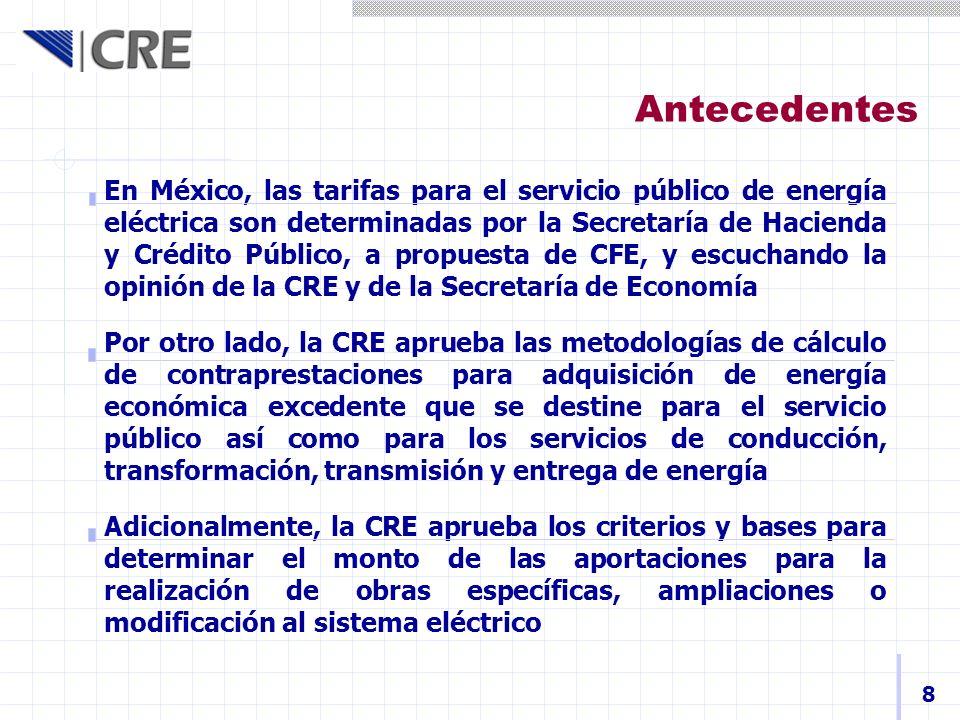 Antecedentes En México, las tarifas para el servicio público de energía eléctrica son determinadas por la Secretaría de Hacienda y Crédito Público, a