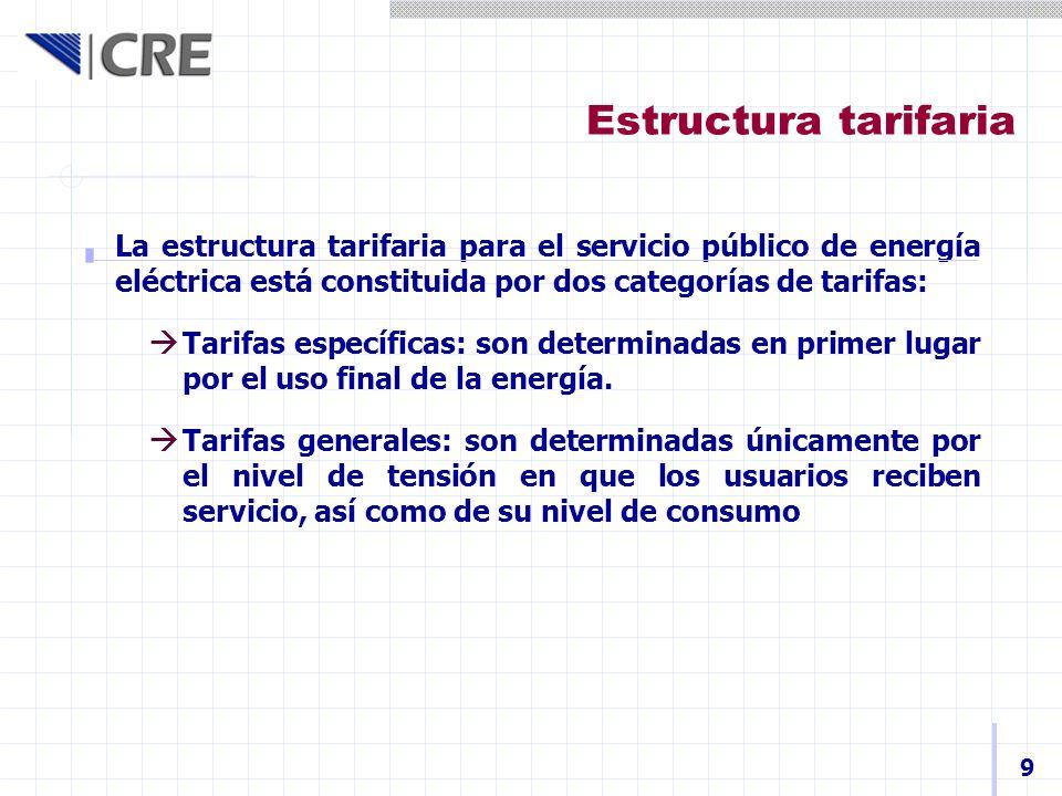 Estructura tarifaria La estructura tarifaria para el servicio público de energía eléctrica está constituida por dos categorías de tarifas: Tarifas esp