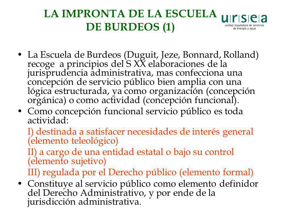 LA IMPRONTA DE LA ESCUELA DE BURDEOS (1) La Escuela de Burdeos (Duguit, Jeze, Bonnard, Rolland) recoge a principios del S XX elaboraciones de la juris