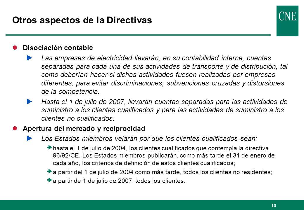 13 Otros aspectos de la Directivas lDisociación contable Las empresas de electricidad llevarán, en su contabilidad interna, cuentas separadas para cad