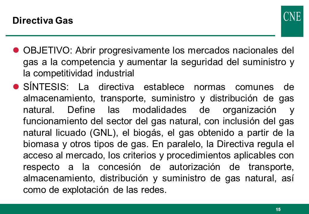 15 Directiva Gas lOBJETIVO: Abrir progresivamente los mercados nacionales del gas a la competencia y aumentar la seguridad del suministro y la competi