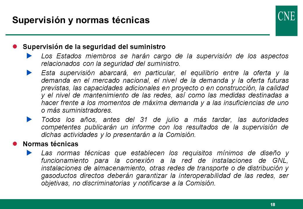 18 Supervisión y normas técnicas lSupervisión de la seguridad del suministro Los Estados miembros se harán cargo de la supervisión de los aspectos rel