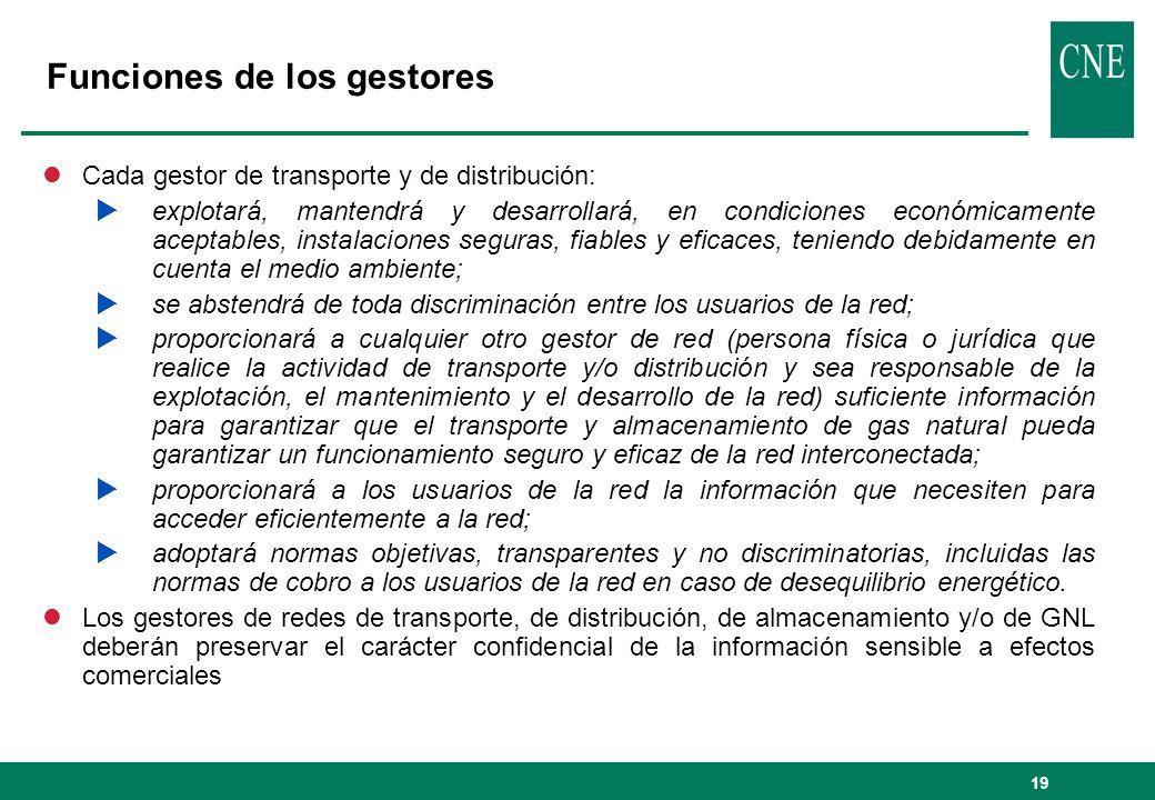 19 Funciones de los gestores lCada gestor de transporte y de distribución: explotará, mantendrá y desarrollará, en condiciones económicamente aceptabl