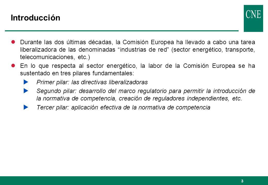 4 Introducción Marco en el que se inserta la política de competencia en el sector energético Competencia Mercado interior y Liberalización Seguridad del suministro Campeones nacionales REGULACIÓN