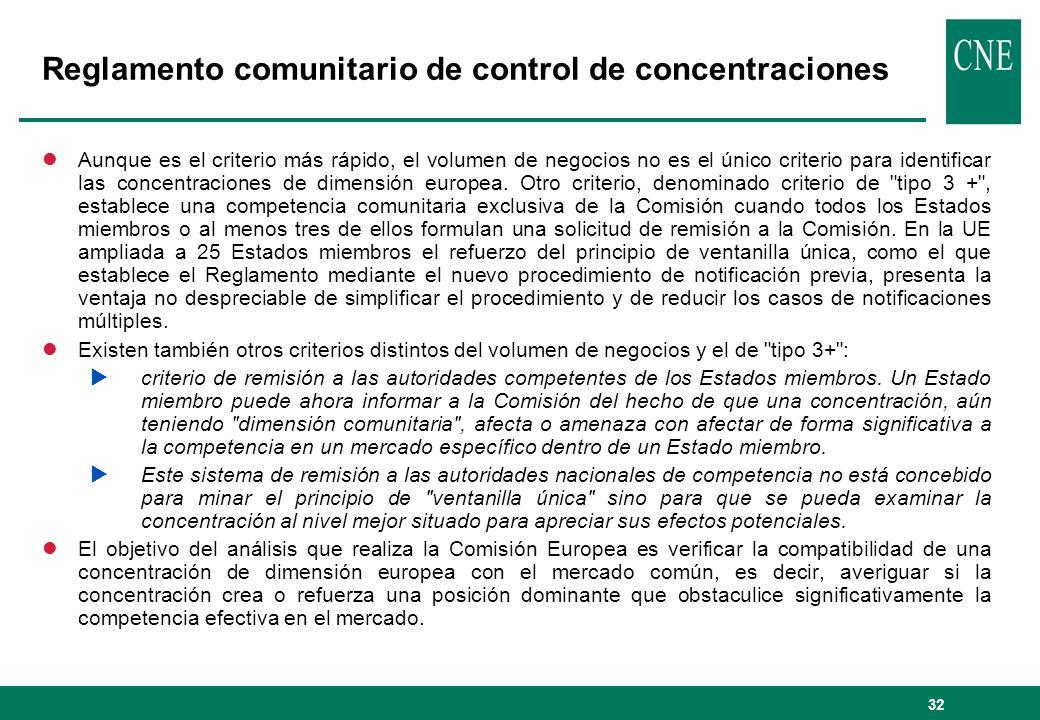 32 Reglamento comunitario de control de concentraciones lAunque es el criterio más rápido, el volumen de negocios no es el único criterio para identif