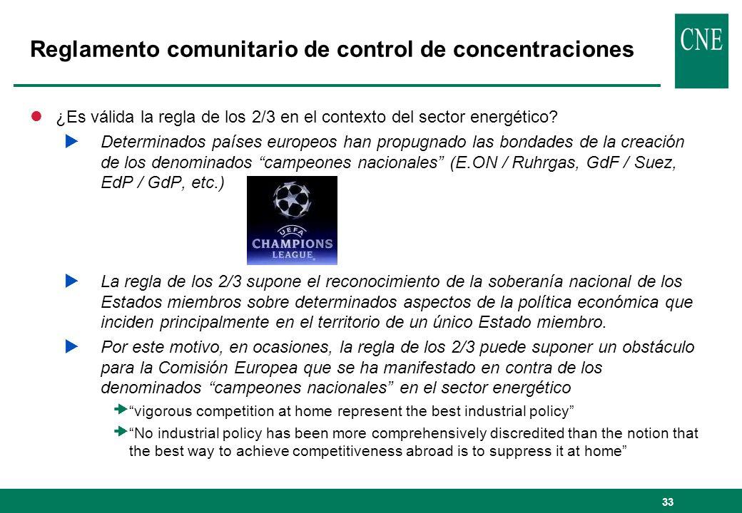33 Reglamento comunitario de control de concentraciones l¿Es válida la regla de los 2/3 en el contexto del sector energético? Determinados países euro