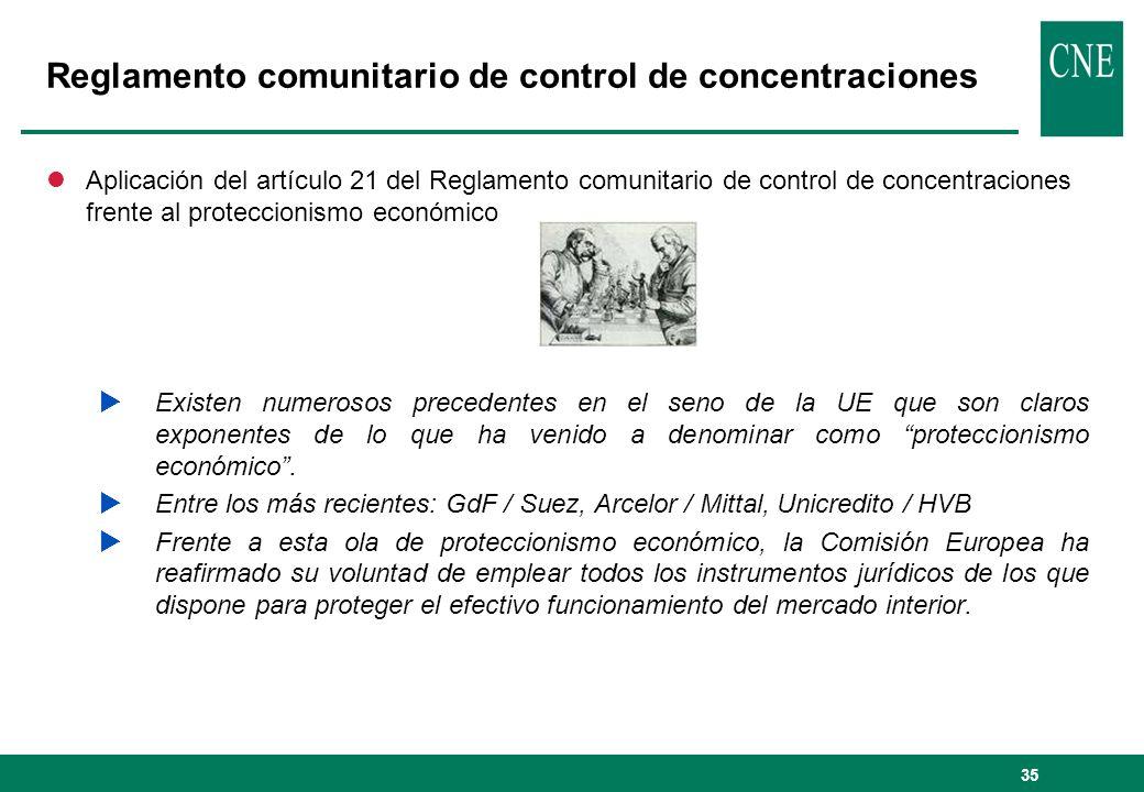 36 Reglamento comunitario de control de concentraciones lEl artículo 21 del Reglamento señala que la Comisión tiene competencia exclusiva para analizar los efectos sobre la competencia de las concentraciones de dimensión comunitaria.
