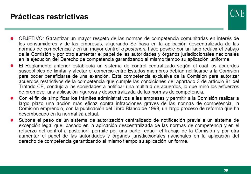 38 Prácticas restrictivas lOBJETIVO: Garantizar un mayor respeto de las normas de competencia comunitarias en interés de los consumidores y de las emp