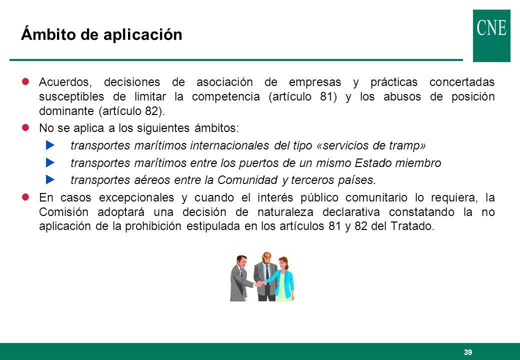 39 Ámbito de aplicación lAcuerdos, decisiones de asociación de empresas y prácticas concertadas susceptibles de limitar la competencia (artículo 81) y