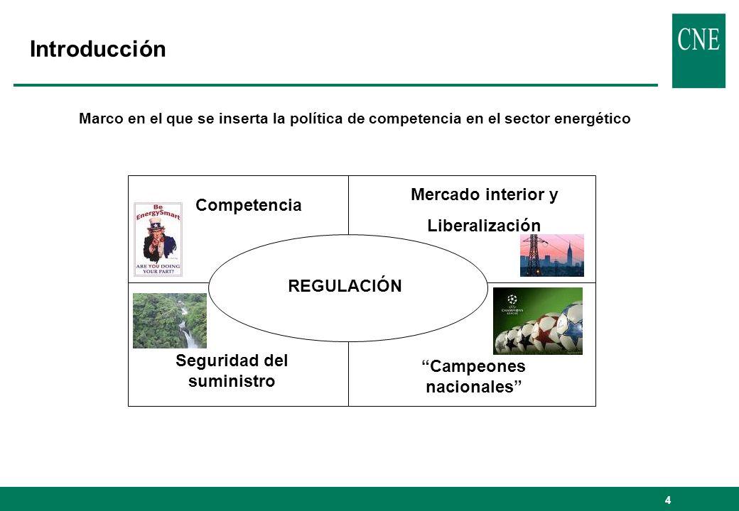 5 Instrumentos para la consecución de los objetivos comunitarios en el sector energético 1.Tratado UE 1.Competencia: artículos 81 y 82 2.Libre circulación de capitales 3.Normas de ayudas de Estado 2.Directivas liberalizadoras 1.Electricidad – Directiva 2003/54/EC 2.Gas – Directiva 2003/55/EC 3.Tercer paquete 3.Investigaciones de la Comisión Europea 1.Procedimientos de infracción contra Estados Miembros 2.Reglamento comunitario de control de concentraciones 3.Procedimientos de infracción contra compañías 4.Investigaciones sectoriales 4.Jurisprudencia Comunitaria 5.Instrumentos jurídicos nacionales 1.Autoridades de competencia 2.Reguladores 3.Tribunales