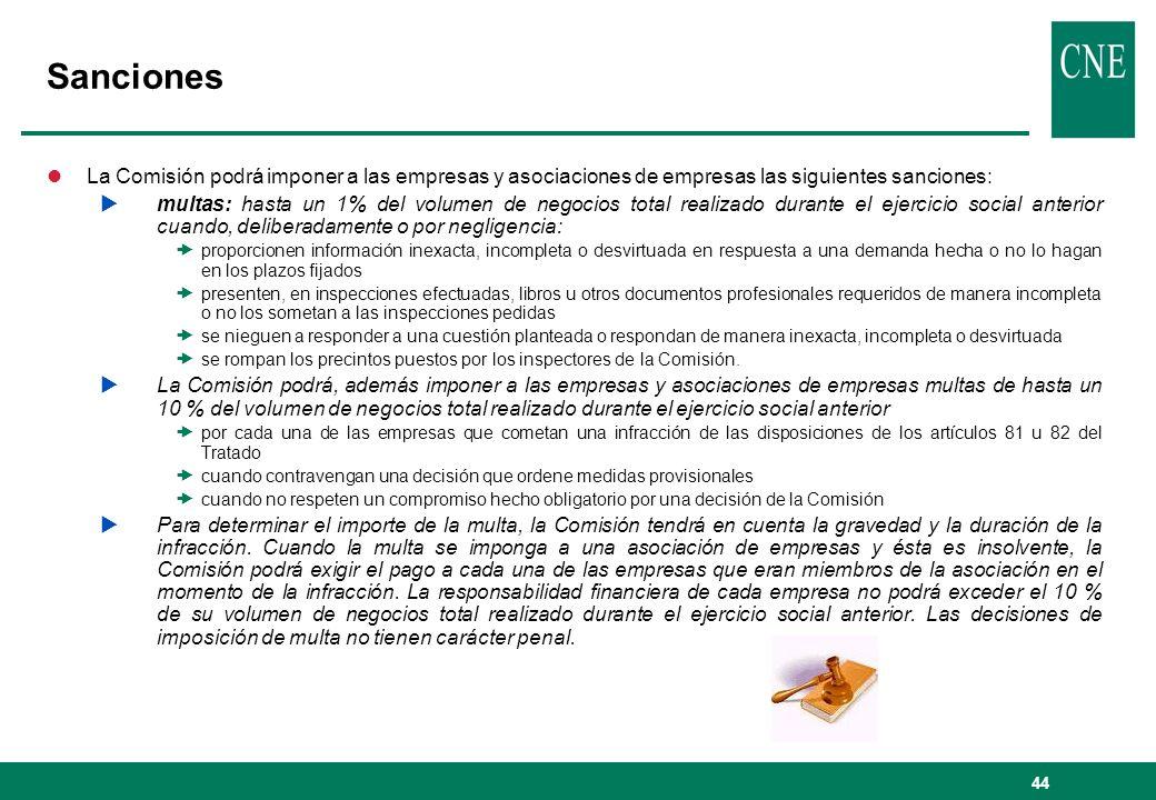44 Sanciones lLa Comisión podrá imponer a las empresas y asociaciones de empresas las siguientes sanciones: multas: hasta un 1% del volumen de negocio