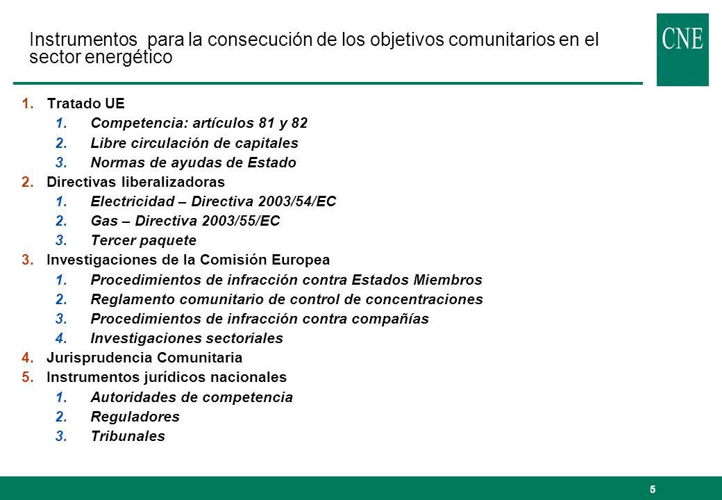 5 Instrumentos para la consecución de los objetivos comunitarios en el sector energético 1.Tratado UE 1.Competencia: artículos 81 y 82 2.Libre circula