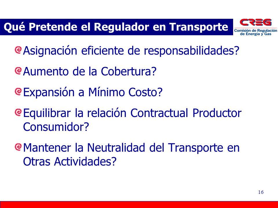 16 Asignación eficiente de responsabilidades? Aumento de la Cobertura? Expansión a Mínimo Costo? Equilibrar la relación Contractual Productor Consumid