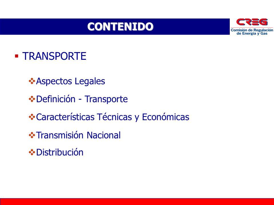 CONTENIDO TRANSPORTE Aspectos Legales Definición - Transporte Características Técnicas y Económicas Transmisión Nacional Distribución