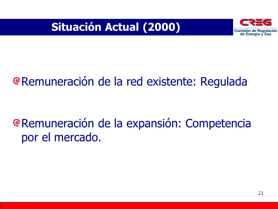 21 Remuneración de la red existente: Regulada Remuneración de la expansión: Competencia por el mercado. Situación Actual (2000)
