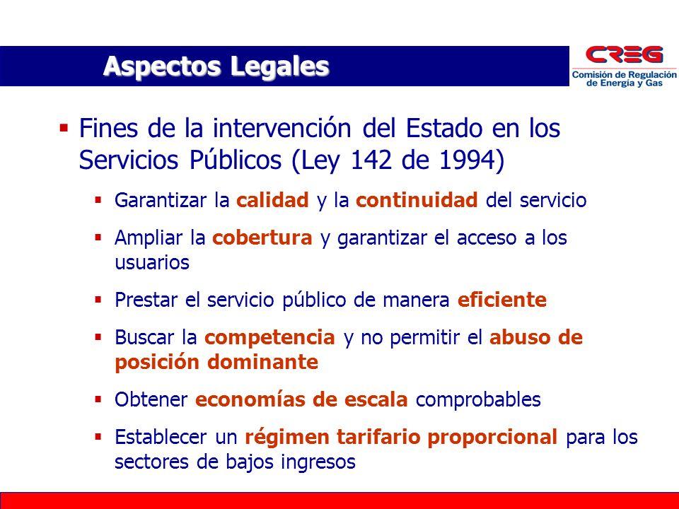 Aspectos Legales Fines de la intervención del Estado en los Servicios Públicos (Ley 142 de 1994) Garantizar la calidad y la continuidad del servicio A