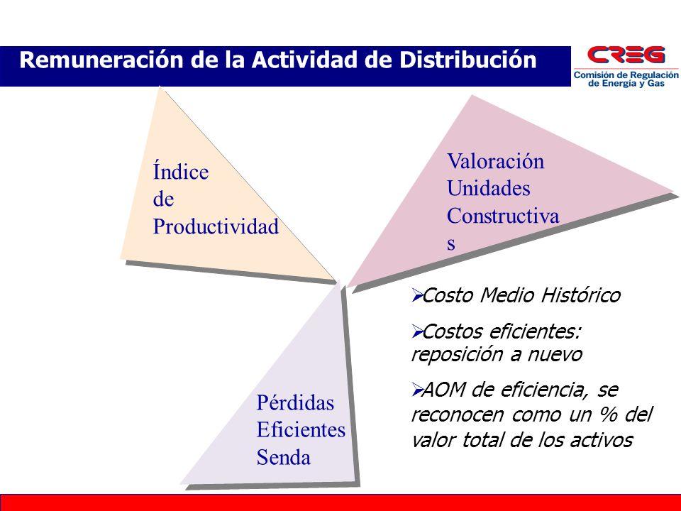 Remuneración de la Actividad de Distribución Valoración Unidades Constructiva s Valoración Unidades Constructiva s Índice de Productividad Pérdidas Eficientes Senda Costo Medio Histórico Costos eficientes: reposición a nuevo AOM de eficiencia, se reconocen como un % del valor total de los activos