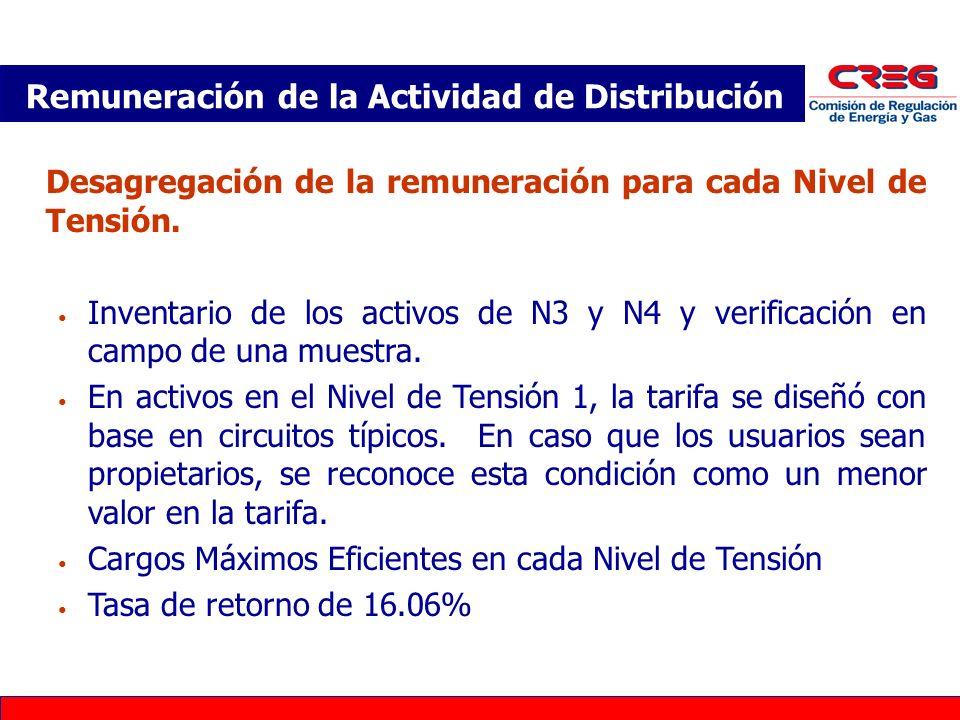 Desagregación de la remuneración para cada Nivel de Tensión. Inventario de los activos de N3 y N4 y verificación en campo de una muestra. En activos e