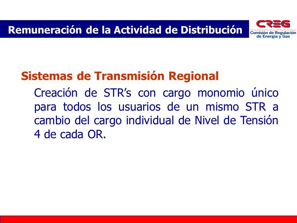 Sistemas de Transmisión Regional Creación de STRs con cargo monomio único para todos los usuarios de un mismo STR a cambio del cargo individual de Nivel de Tensión 4 de cada OR.