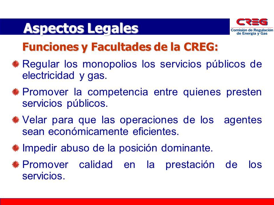 Funciones y Facultades de la CREG: Regular los monopolios los servicios públicos de electricidad y gas.