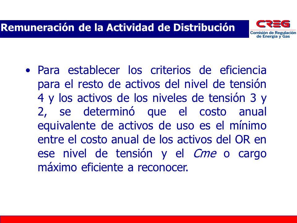 Para establecer los criterios de eficiencia para el resto de activos del nivel de tensión 4 y los activos de los niveles de tensión 3 y 2, se determin