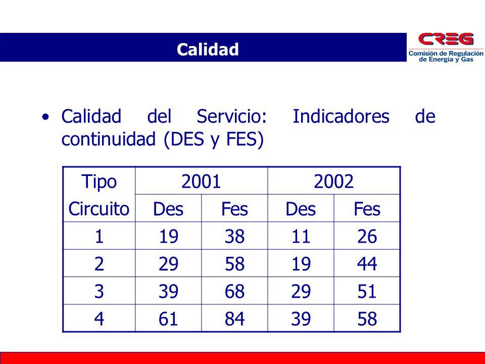 Calidad del Servicio: Indicadores de continuidad (DES y FES) Calidad Tipo Circuito 20012002 DesFesDesFes 119381126 229581944 339682951 461843958