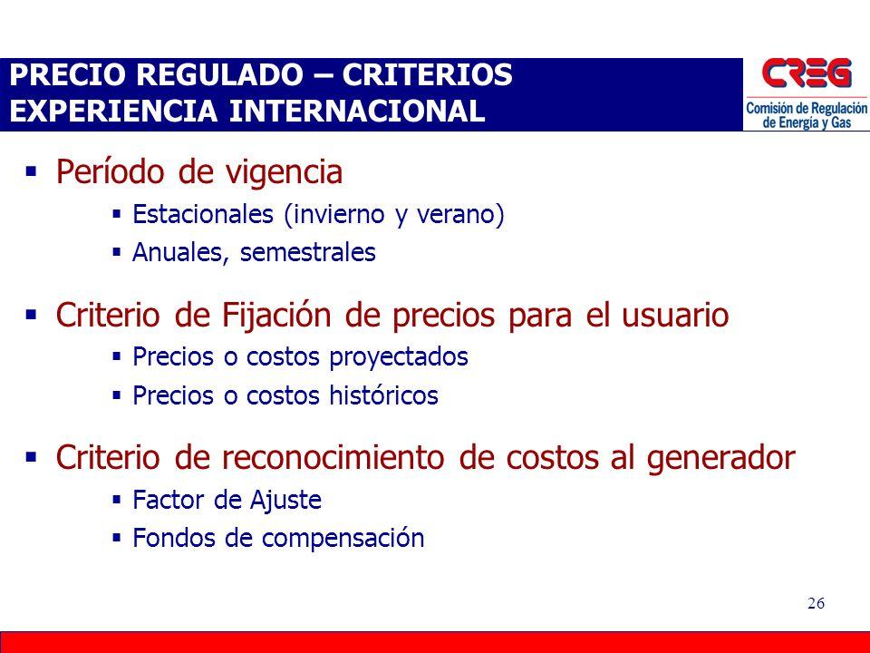 25 MECANISMOS DE TRASLADO Precio fijado por el regulador Spot Organizado Bilateral Precio de Mercado