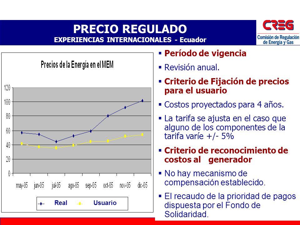 28 PRECIO REGULADO EXPERIENCIAS INTERNACIONALES - Argentina Periodo de Vigencia: Estacional Criterio de fijación de precios para el usuario: Costos: H