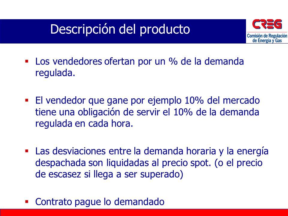 Usuarios Regulados (68% de la demanda) –Pequeños consumidores sin medición horaria –Papel pasivo del comprador en la subasta Usuarios No regulados (32