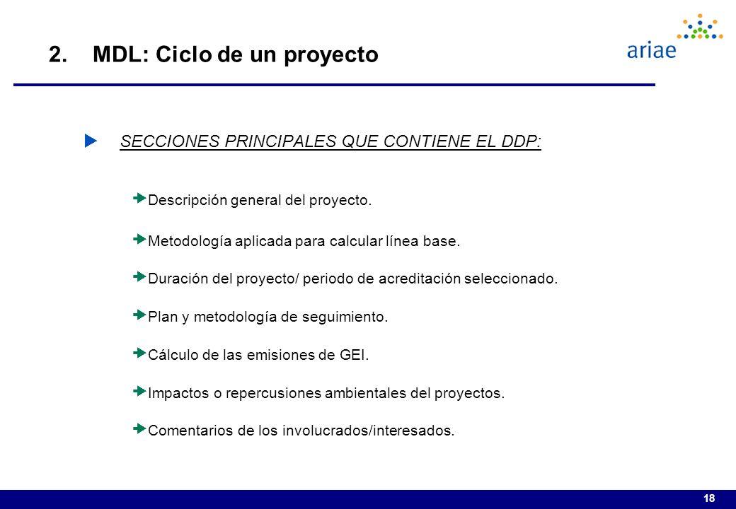 18 SECCIONES PRINCIPALES QUE CONTIENE EL DDP: Descripción general del proyecto.
