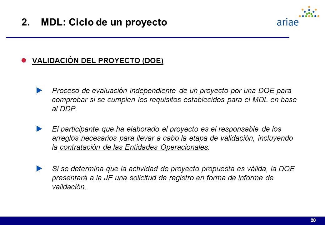 20 lVALIDACIÓN DEL PROYECTO (DOE) Proceso de evaluación independiente de un proyecto por una DOE para comprobar si se cumplen los requisitos establecidos para el MDL en base al DDP.
