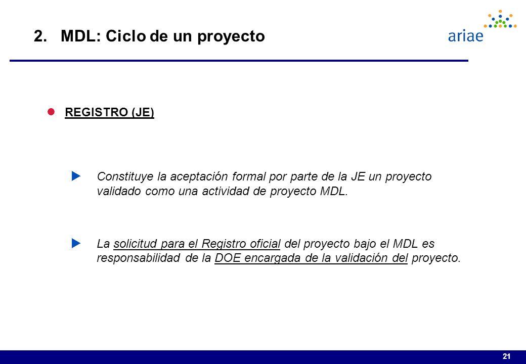 21 lREGISTRO (JE) Constituye la aceptación formal por parte de la JE un proyecto validado como una actividad de proyecto MDL.