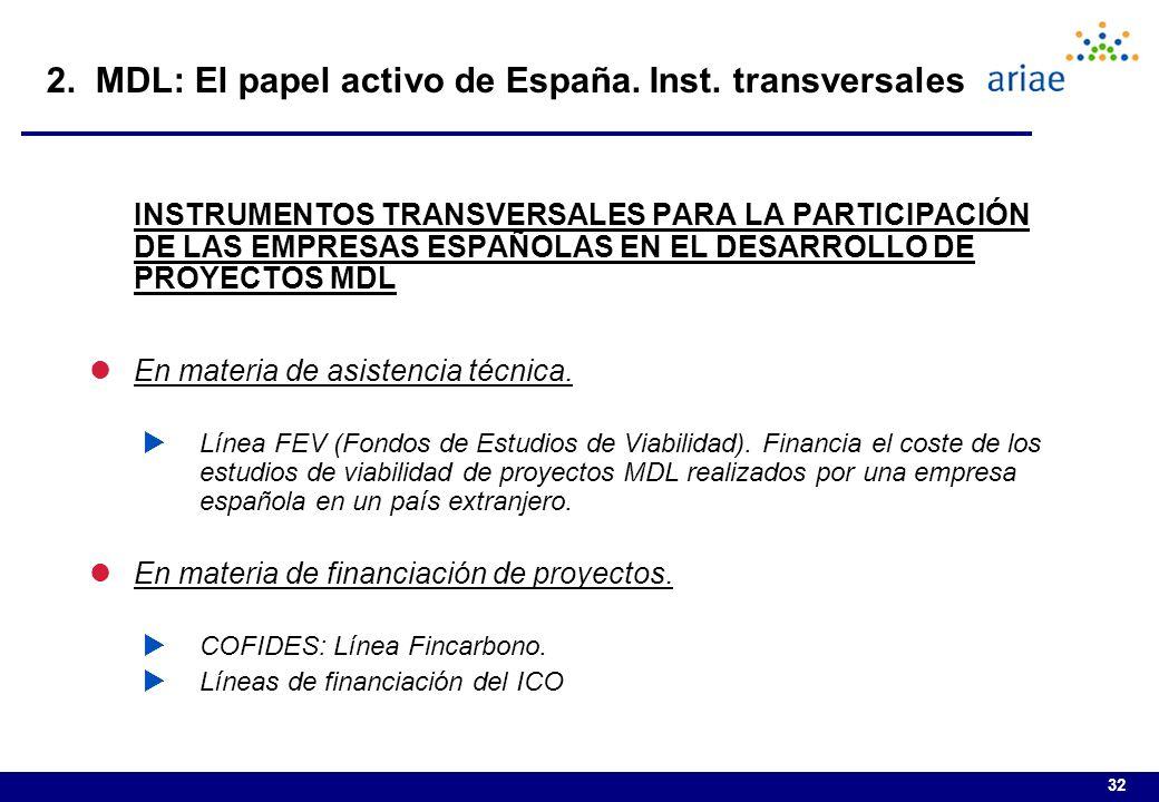 32 INSTRUMENTOS TRANSVERSALES PARA LA PARTICIPACIÓN DE LAS EMPRESAS ESPAÑOLAS EN EL DESARROLLO DE PROYECTOS MDL lEn materia de asistencia técnica.