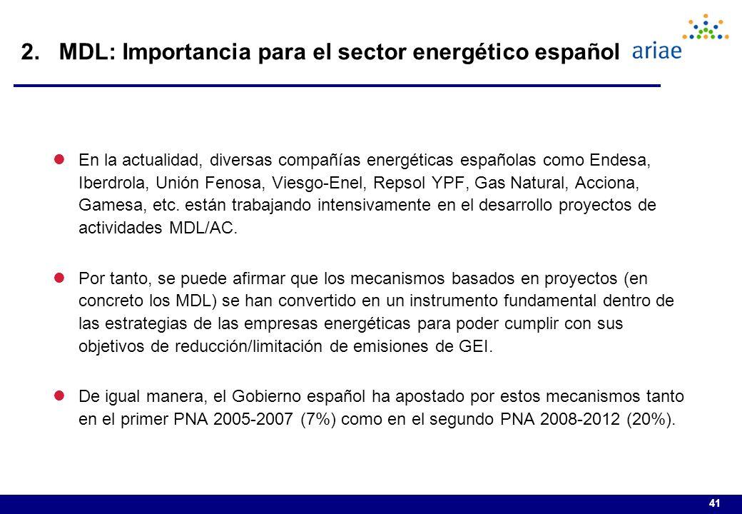 41 lEn la actualidad, diversas compañías energéticas españolas como Endesa, Iberdrola, Unión Fenosa, Viesgo-Enel, Repsol YPF, Gas Natural, Acciona, Gamesa, etc.