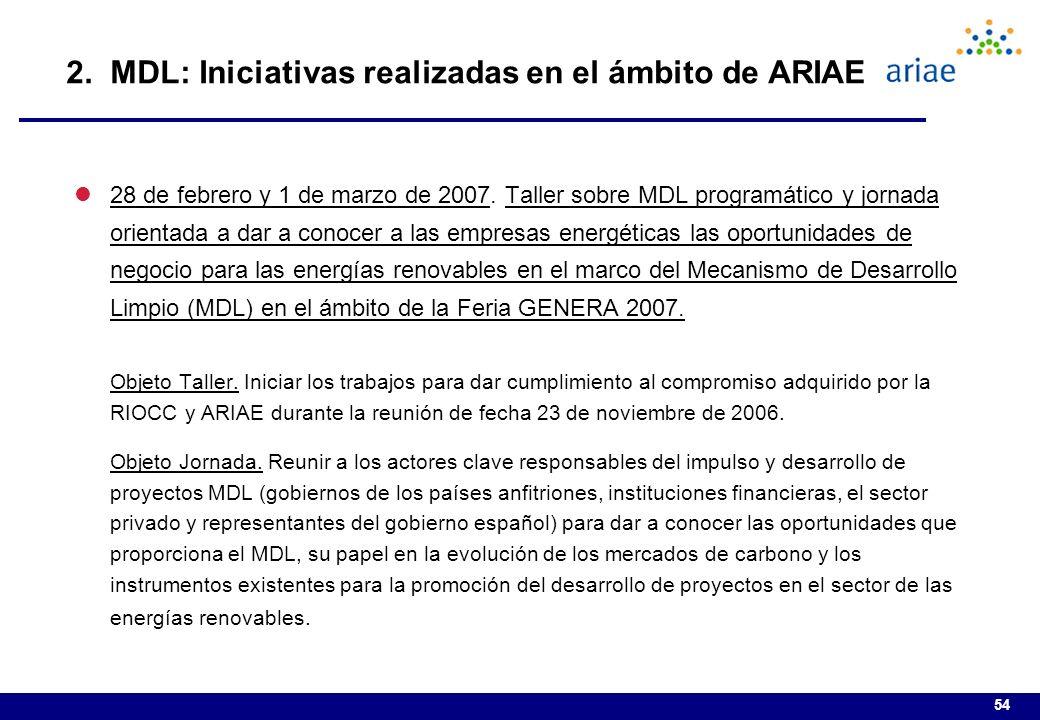 54 2.MDL: Iniciativas realizadas en el ámbito de ARIAE l28 de febrero y 1 de marzo de 2007.