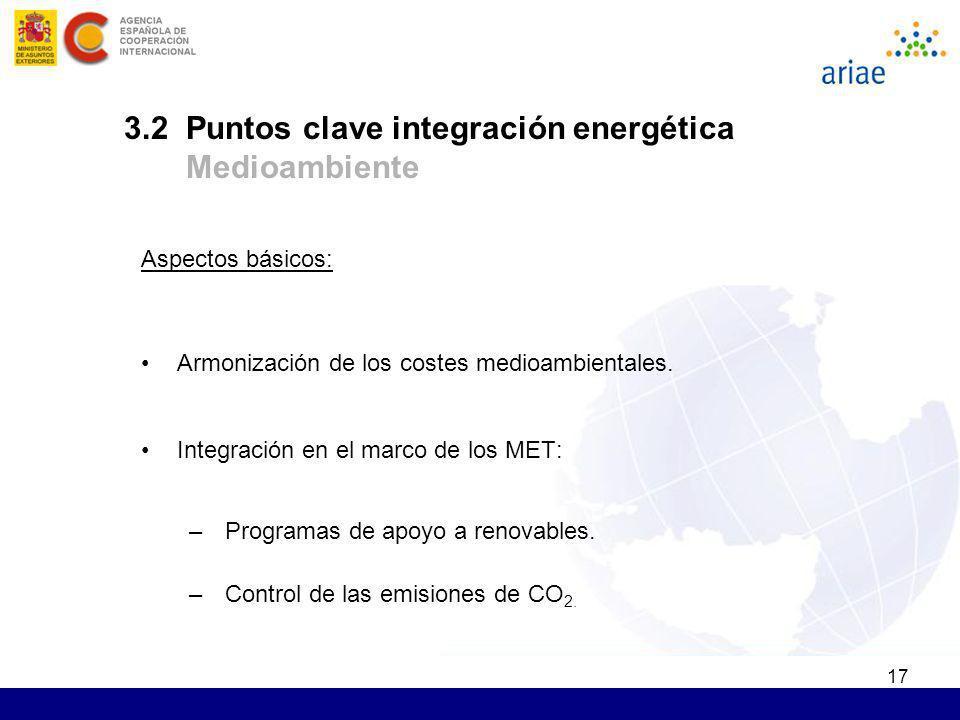 17 Aspectos básicos: Armonización de los costes medioambientales. Integración en el marco de los MET: –Programas de apoyo a renovables. –Control de la