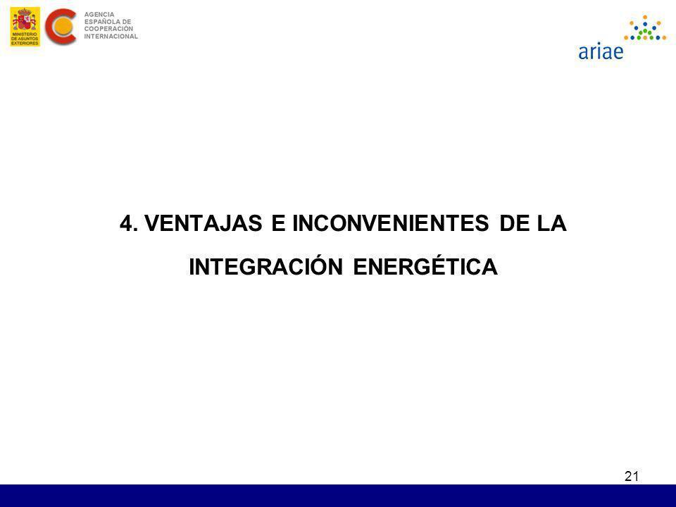 21 4. VENTAJAS E INCONVENIENTES DE LA INTEGRACIÓN ENERGÉTICA