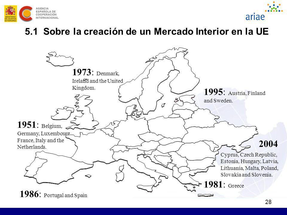 28 5.1 Sobre la creación de un Mercado Interior en la UE 1951: Belgium, Germany, Luxembourg, France, Italy and the Netherlands. 1973: Denmark, Ireland
