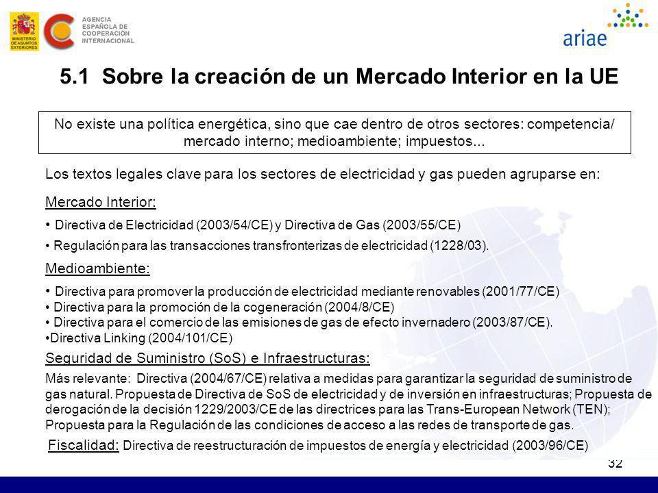 32 5.1 Sobre la creación de un Mercado Interior en la UE No existe una política energética, sino que cae dentro de otros sectores: competencia/ mercad
