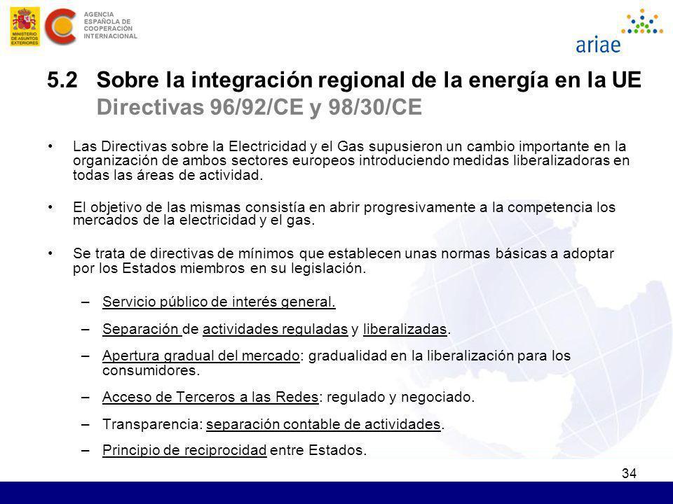34 5.2 Sobre la integración regional de la energía en la UE Directivas 96/92/CE y 98/30/CE Las Directivas sobre la Electricidad y el Gas supusieron un