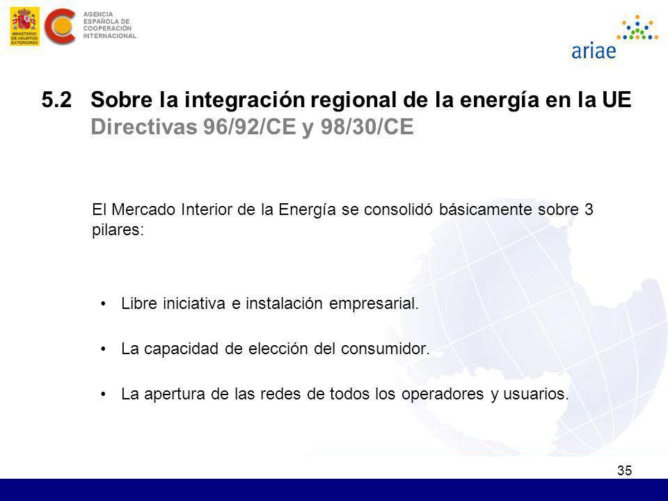 35 5.2 Sobre la integración regional de la energía en la UE Directivas 96/92/CE y 98/30/CE El Mercado Interior de la Energía se consolidó básicamente