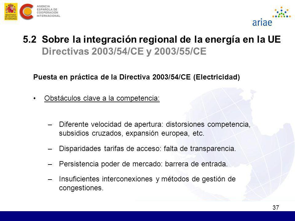 37 Puesta en práctica de la Directiva 2003/54/CE (Electricidad) Obstáculos clave a la competencia: –Diferente velocidad de apertura: distorsiones comp